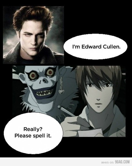 anime, cullen, death note, edward, edward cullen, funny, kira, light, raito, ryuk, spelling, spellit, twilight suck