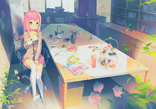 anime, gilr, hair, illustration, pink