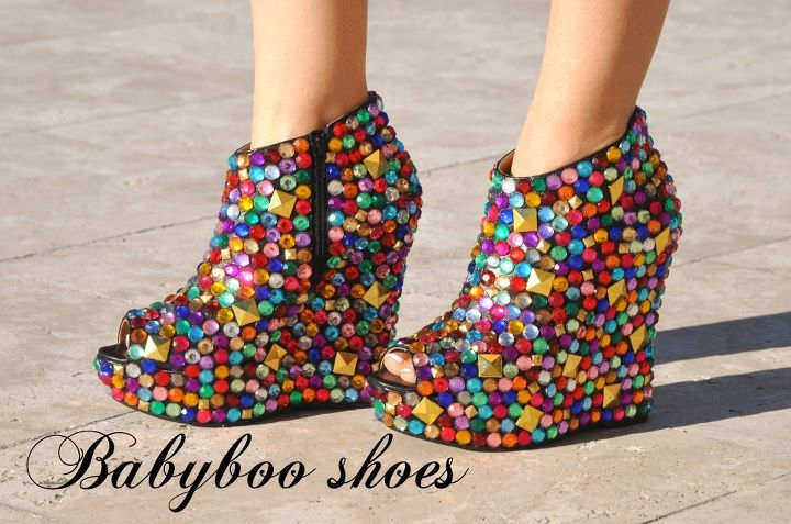 ankle, babyboo shoes, bejewled, boot, colourful