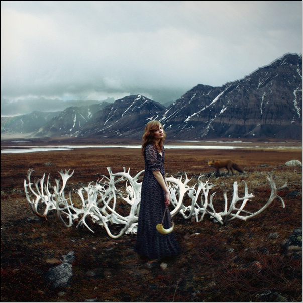 antlers, beautiful, bleak, deer, fox, ginger, girl, mountains, rehead, stag