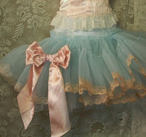 aqua, bow, lace, light pink, pastel, peach, petticoat, ribbon, tulle, tutu
