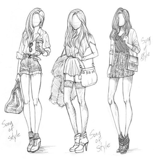 art, beauty, black and white, drawing, fashion, girls, pencil, pretty, sketch, skinny