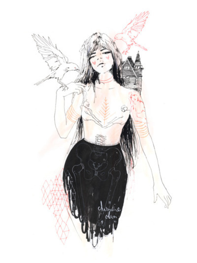 art, bird, birds, black and white, dark, drawing, girl, goth, gothic, pink