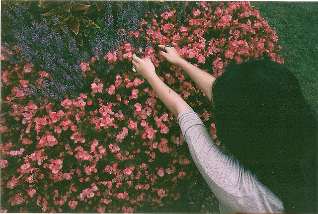 art, black hair, film, flowers, girl
