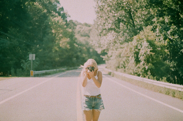 art, blonde, film, girl, grain