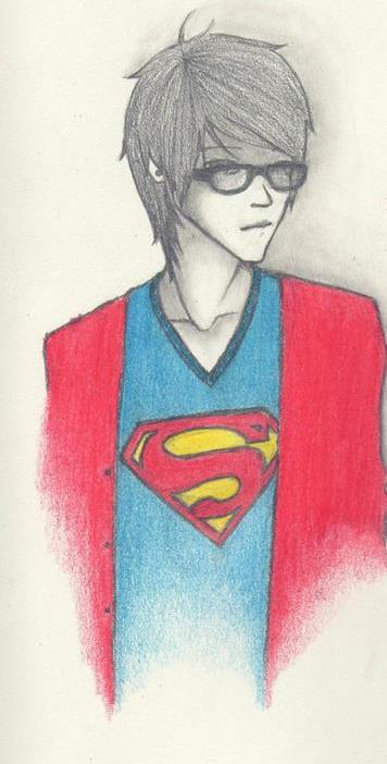 art, boy, cute, drawing, glasses, joe brooks, superman