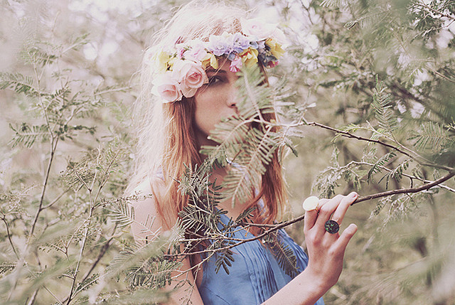 art, branches, flowers, girl, hipster