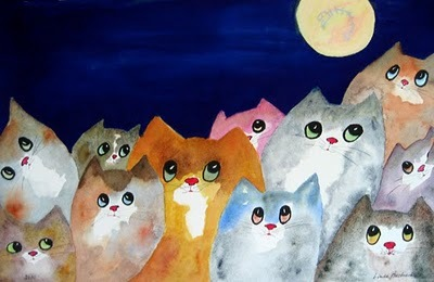 art, cats, linda bachrach, moon, paint, painting, watercolor, watercolour