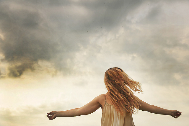 art, clouds, flip, girl, hair