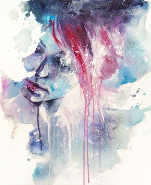 art, girl, skecth, watercolor