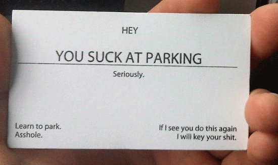 asshole, funny, joke, lol, parking, quote, text