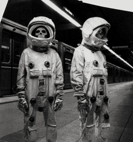 astronaute, b&w, black and white, hat, pink, rocket, sad, sea, skull, take over, train, worldbutterfly, yellow
