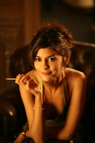 audrey tautou, beautiful, beautiful girl, brunette, cigarettes