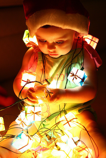 baby, christmas, christmas lights, cute, lights, santa hat