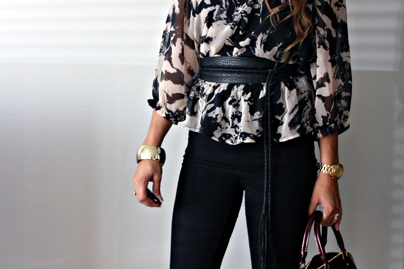 bag, black, blouse, bracelet, brunette
