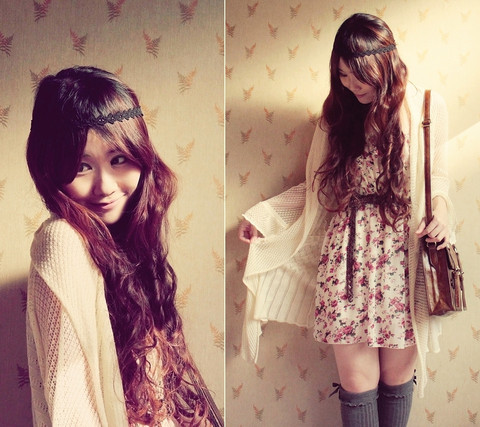 bag, brown hairs, cardigan, dress, fashion, floral, flowers, girl, hair, handbag, long hairs, socks, wall