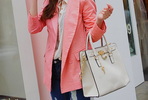 bag, coat, cool, crown, fashion, friend, girl, gold, jeans, key, nail, nice, pink, rich, vintage, white