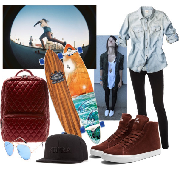 bag, girl radical, longboard, look, supra