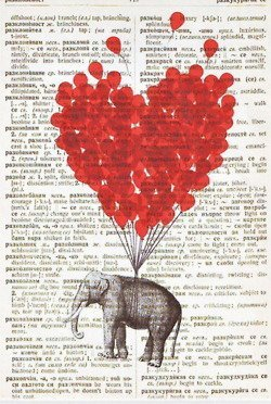 balloon, balloons, black, black and white, book, doodle, elephant, float, floating, heart, love, red, sketch, tect, true love, white
