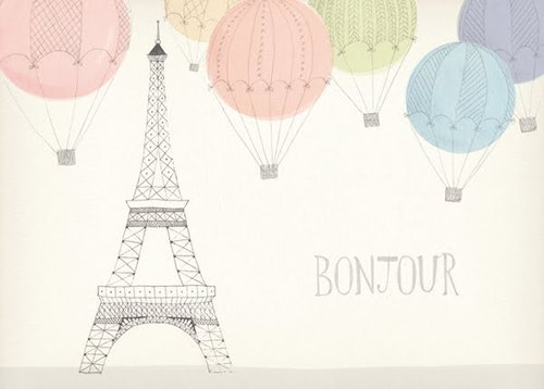 baloons, bonjour, cute, drawing, france, paint, paris, vintage