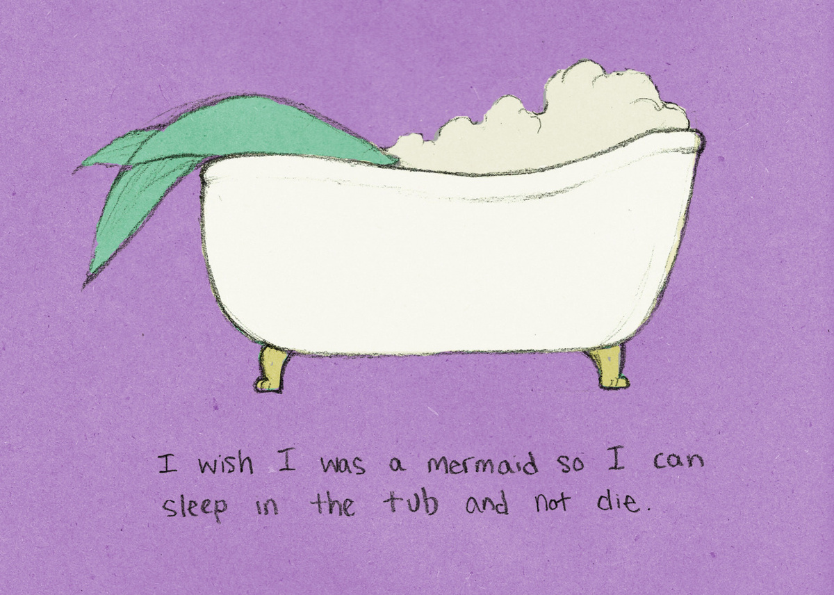 bath, cute, illustration, live forever, mermaid