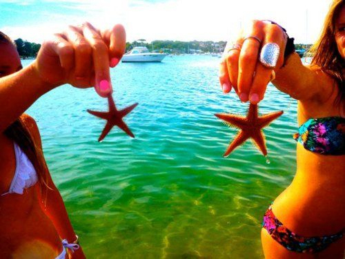 beach, bikini, color, colorful, friends, fun, girl, girls, happy, look, mar, sea, show, star, summer, water