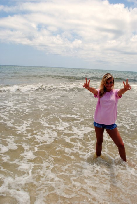 beach, blonde, ocean, peace, pretty