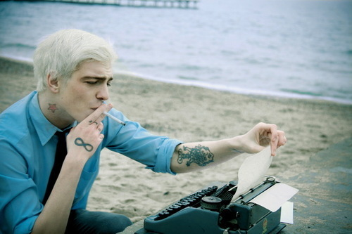 beach, boy, cigarette, fashion, tattoo