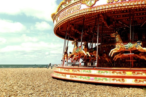 beach, bright, brighton, carousel, fair