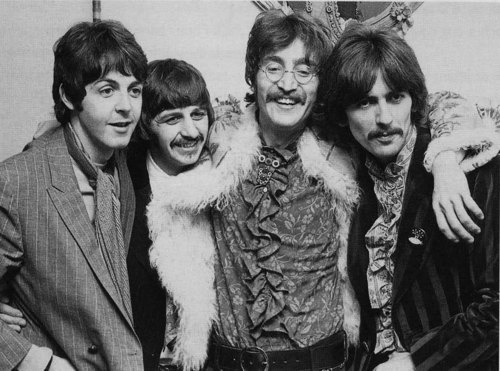 beatles, black and white, george harrison, happy, john lennon