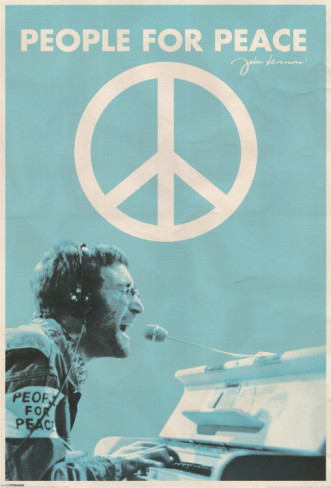 beatles, blue, john lennon, peace, peace sign