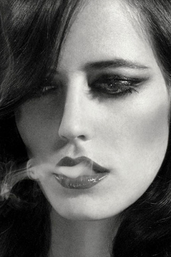 beautiful, beautiful girl, black and white, cigarettes, eva green