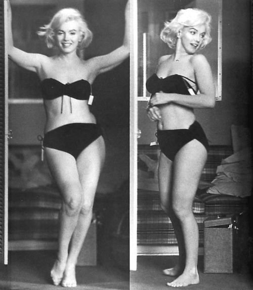 beautiful, bikini, black and white, blonde, cute, girl, marilyn monroe, marylin, monroe, old, retro, sexy, vintage