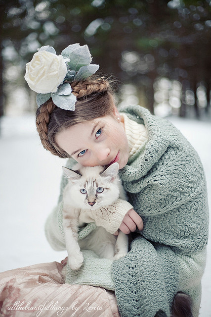 beautiful, blonde, braids, cat, dress, girl, headdress, indie, model, pretty, scarf, shawl, winter