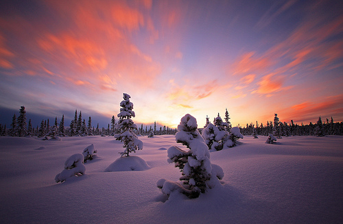 beautiful, colorful, sky, snow, sunset