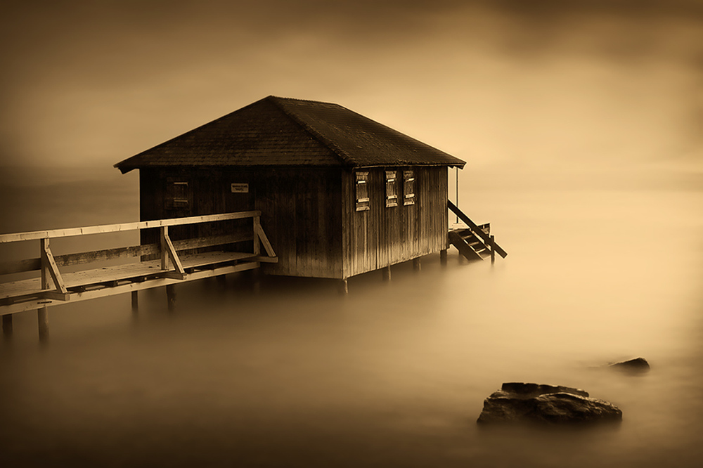 beautiful, fog, house, jetty, lake