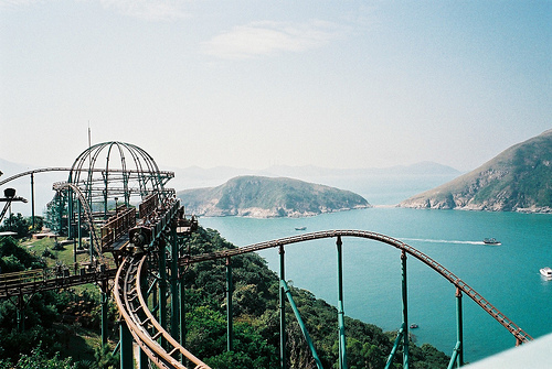 beautiful, landscape, ocean, roller coaster, sea