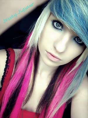 beauty, blonde, blue hair, jessey jigsaw, pink hair, pretty, scene queen