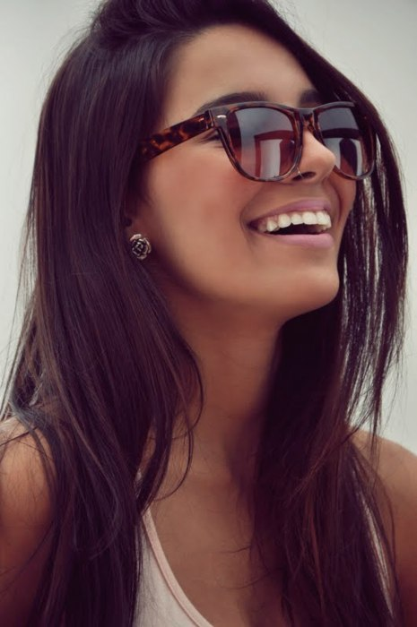 beauty, brown hair, brunette, earring, fashion, girl, glasses, hair, happy, pretty, rose, smile, stunning, style, teeth
