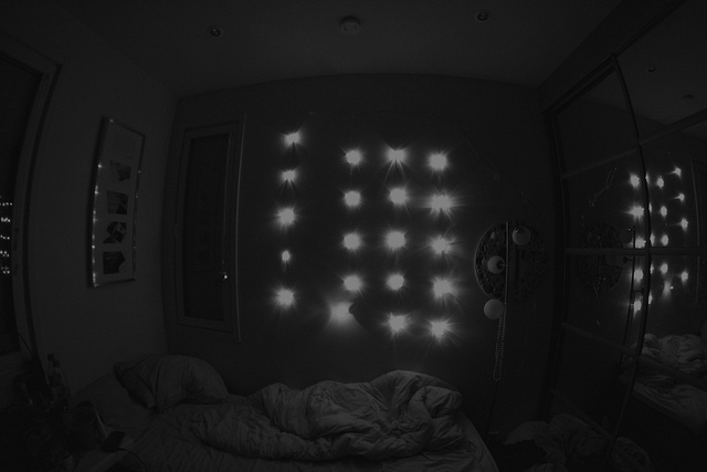 bed, christmas, lights, room, snow