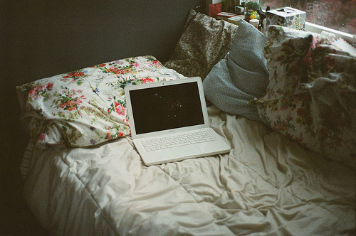 bed, computer, notebook, pillows, vintage