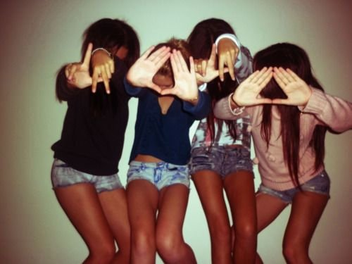 best friends, blond, brunette, friendship, girls, hands, peace