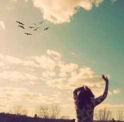birds, cute, girl, sky