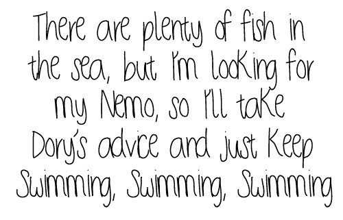 black and white, boys, dory, finding nemo, fish, love, nemo, sea, swimming, text