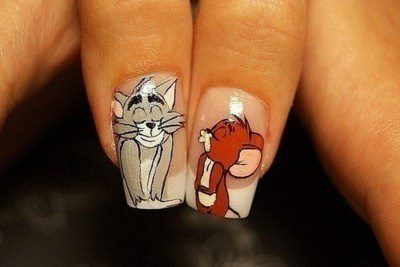 black and white, cartoon, cute, girl, nails, tom & jerry