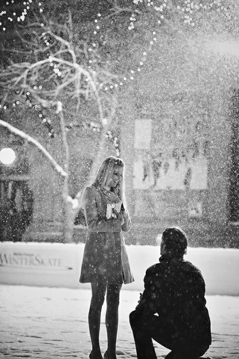 black and white, coat, couple, dress, happy, love, propose, snow, winter