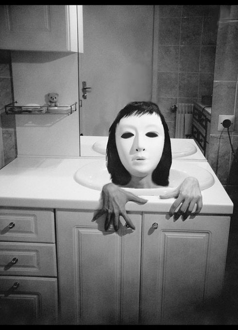 black and white, creepy, girl, mask, pale