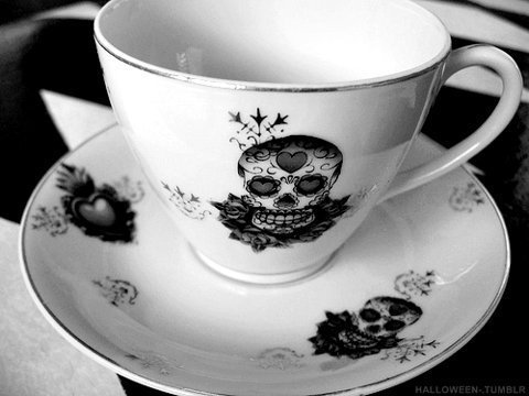 black and white, cup, goth, skull, tea