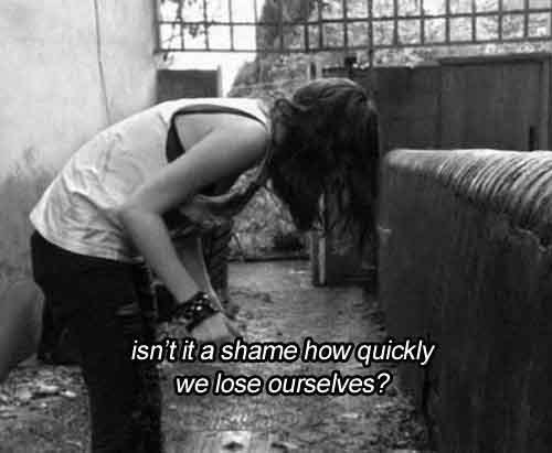 black and white, effy stonem, lose, lost, quotes, shame, text