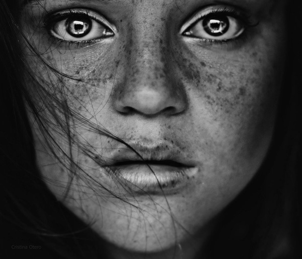 black and white, eyes, face, frecklse, girl